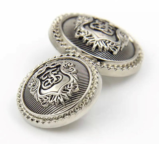 Silver Shield Jacket Buttons Metal