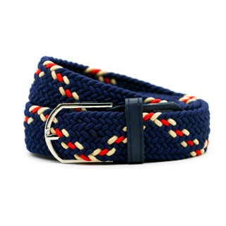 Belt Stripe Navy with Red & Tan - Thick