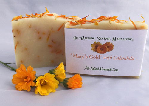 Made with calendula petals from the monastery garden.