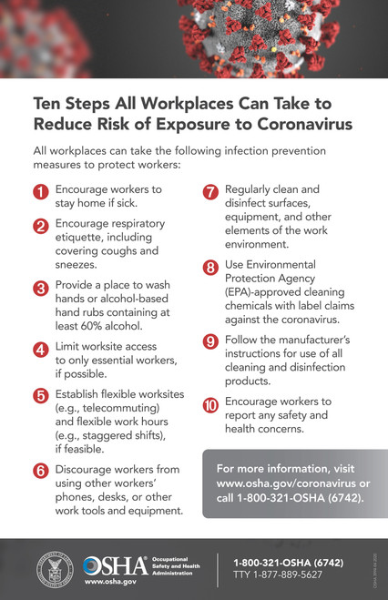 OSHA Poster on Reducing Workplace Risk of COVID-19 Exposure
