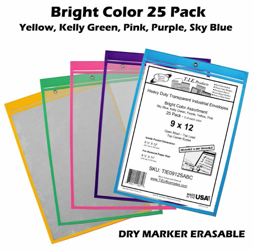 Assorted Colors 9x12 Sewn Job Ticket Holder 25/Pack