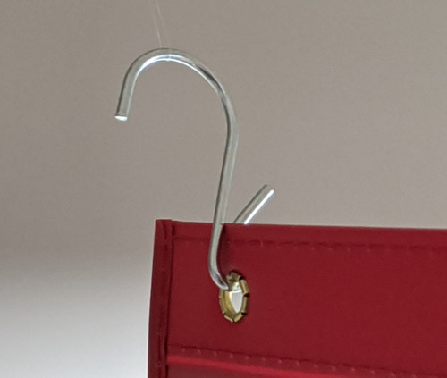 Pinched S Hook for hanging shop ticket holders