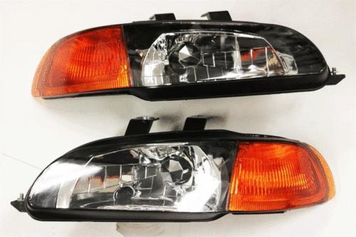 Spec-D - 1pc Black Housing Headlights 92-95' Civic EG