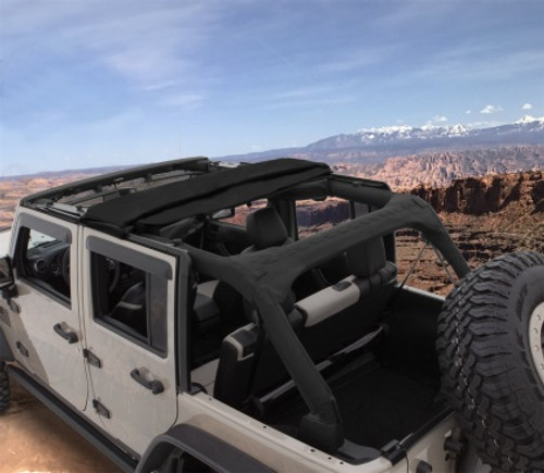 Bushwacker - 07-18' Jeep Wrangler Unlimited 4DR Trail Armor Twill Flat Back Soft Top - Black