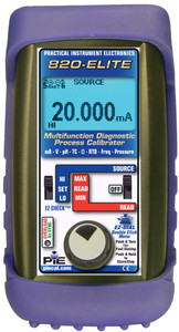 PIE 820ELITE Multifunction Diagnostic single channel calibrator. Comes withrubber boot, hands free carrying case, test leads and NIST cert.