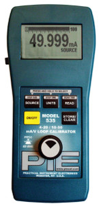 PIE 850 4-20 & 10-50 mA Multifunction Diagnostic single channelcalibrator. Comes with rubber boot, hands free carrying case, test leads and NIST cert with data.