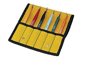 Aven 18480EZ E-Z Pik 6-Piece Tweezers Set with Protective Pouch, AA, OO, 2A, ...