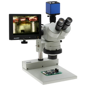 Aven 26800B-353 SPZHT-135 Stereo Zoom Trinocular Microscope on Stand, PLED