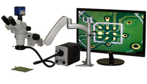 Aven 26800B-354 SPZHT-135 Stereo Zoom Trinocular Microscope on Stand, Light W...