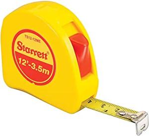 Starrett KTS12-12ME-N ABS Plastic Case Yellow Measuring Pocket Tape, English/Metric Graduation Style, 12' (3.5m)