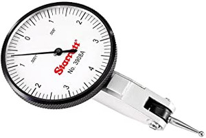 """Starrett 12333 Dial Test Indicator with Dovetail Mount and 2 Attachments, White Dial, 1.25"""" Diameter, 0.030"""" Graduation"""