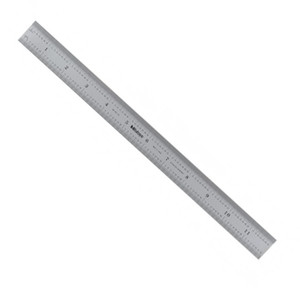 """Mitutoyo 182-125, Steel Rule, 12""""/300mm ( 1/32, 1/64"""", 1mm, 0.5mm), 3/64"""" Thick X 1"""" Wide, Satin Chrome Finish Tempered Stainless Steel"""