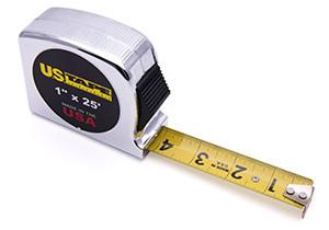 """U.S. Tape  56937  SHORT TAPES  Chrome case   3/4"""" x 12'/3.5m"""