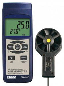 REED Instruments SD-4207-NIST ANEMOMETER/THERMOMETER, ROTATING VANE, DATA LOGGER W/NIST CERT