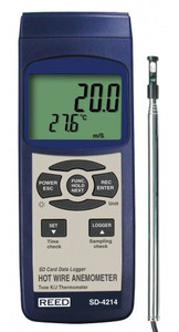 REED Instruments SD-4214-NIST ANEMOMETER/THERMOMETER, HOT WIRE, DATA LOGGER W/NIST CERT