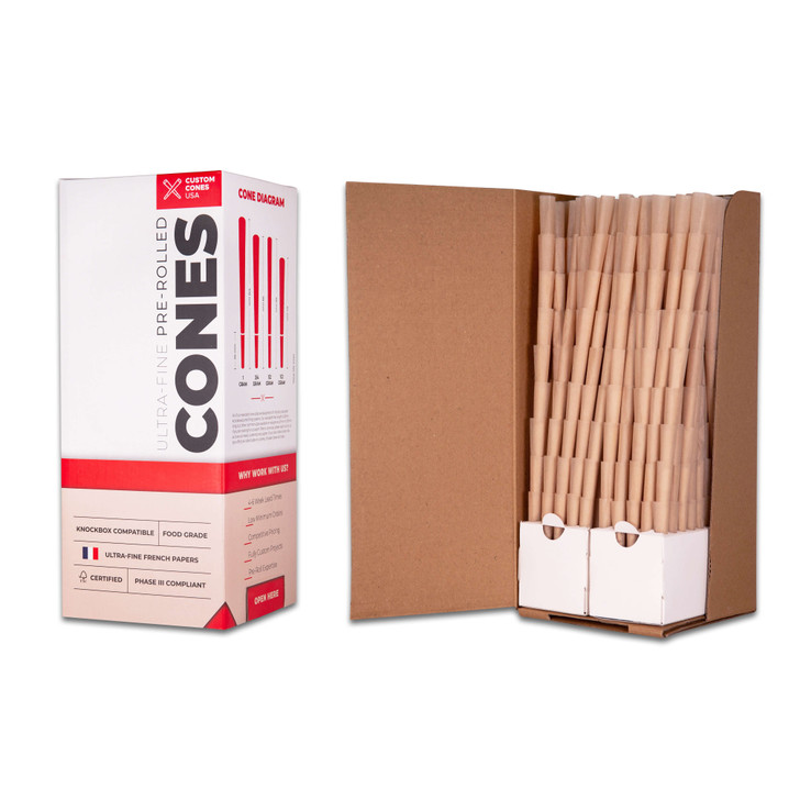 The natural 98mm pre-rolled cones with the standard opening are the best pre-rolled cones around. These pre-rolled cones come in bulk boxes of 800 cones.
