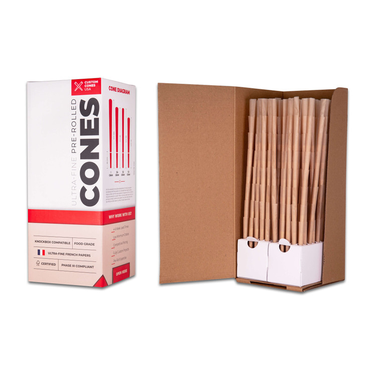 98mm Reefer Pre-Rolled Cones  - Unrefined Brown [800 Cones per Box]