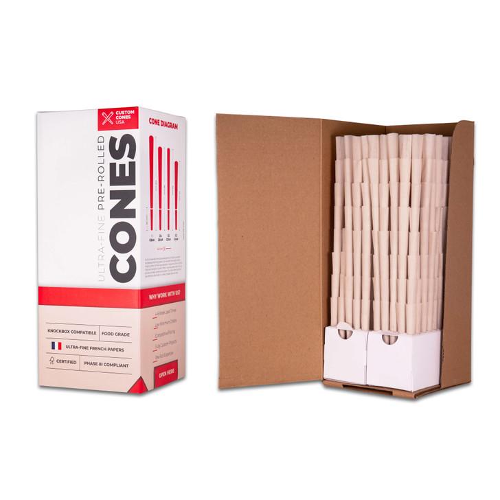 98mm Pre-Rolled Cones  - 100% Organic Hemp Paper [800 Cones per Box]