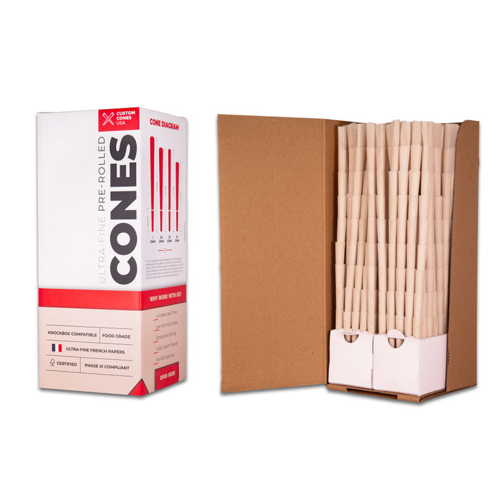 84mm Pre-Rolled Cones  - 100% Organic Hemp Paper [800 Cones per Box]