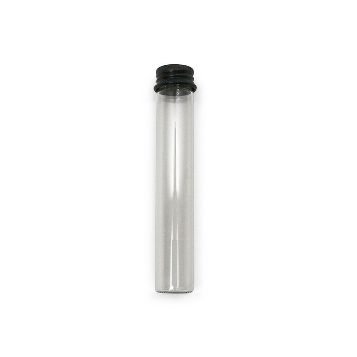 115mm Clear Glass Tubes With Black Aluminum Screw Cap - Non Child-Resistant - [400 per case]