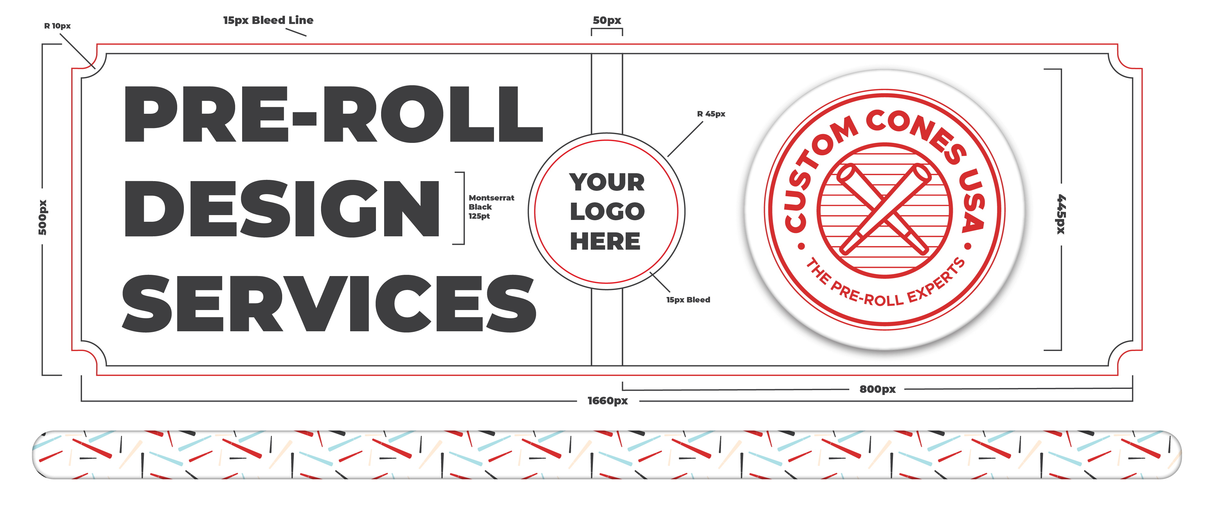 A banner for custom pre-roll design services