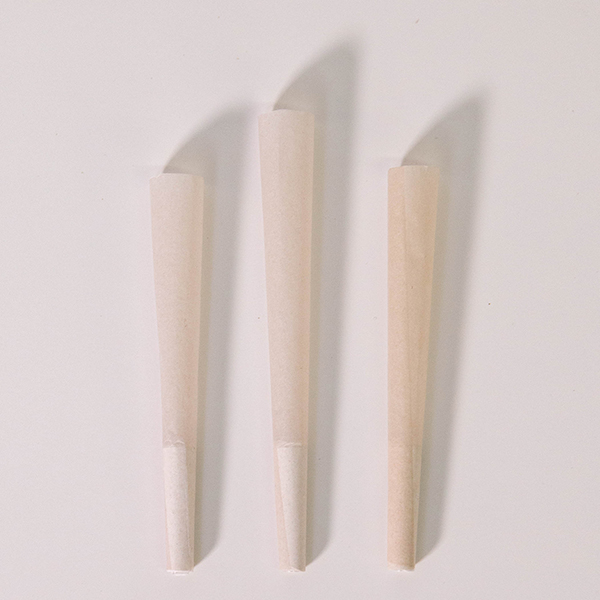 84mm hemp pre rolled cones against white background