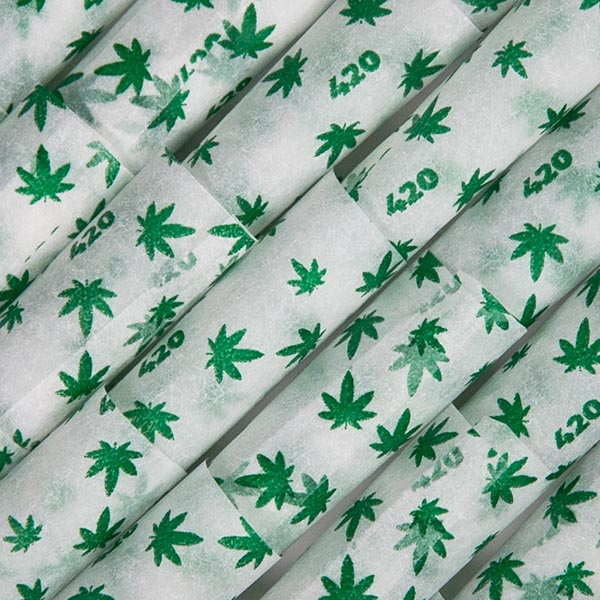 A closeup of the 420 printed paper pre-rolled cones