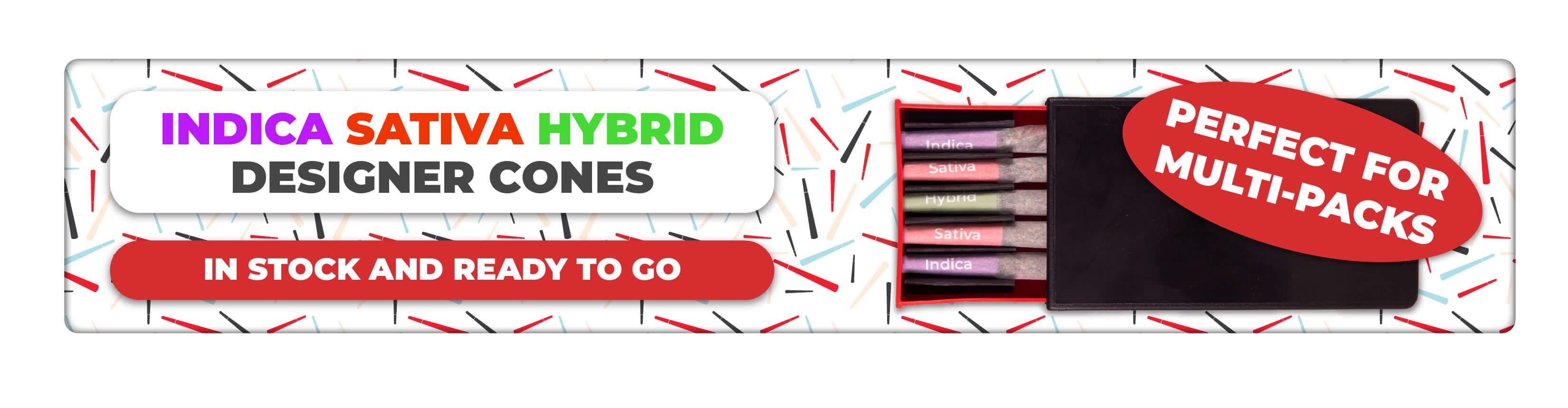Indica Sativa Hybrid Designer Cone Banner with Pre-Roll Slider Pack