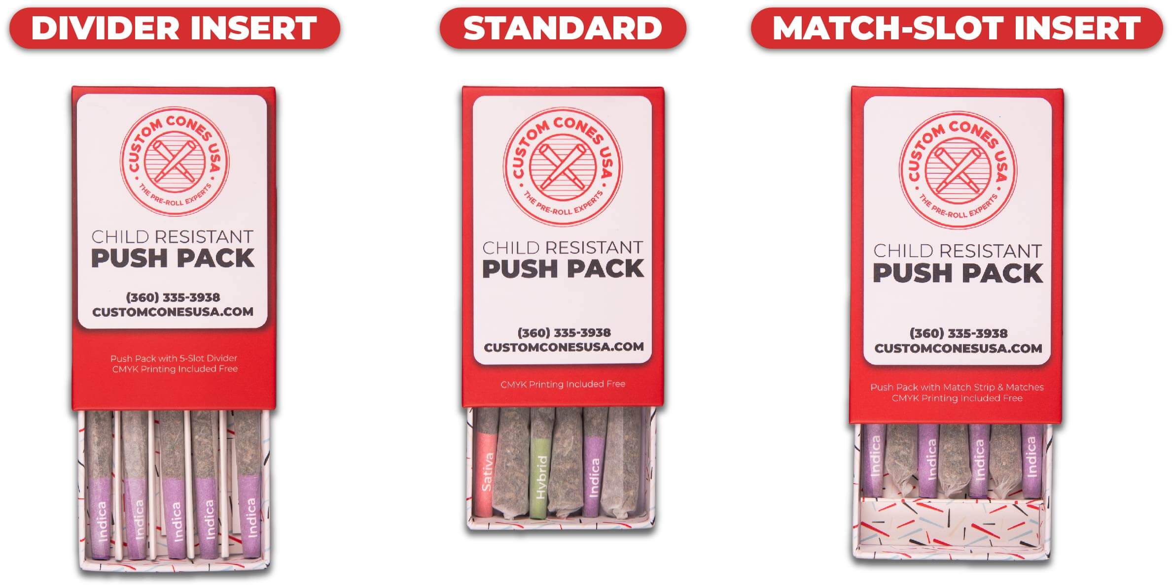three variations of the push pack. Divider insert, standard, and then match-slot insert