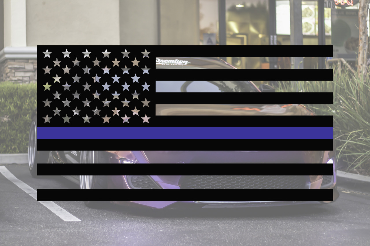 Thin Blue Line Flag Upside Down Custom Sticker