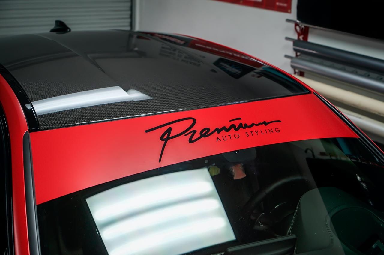 Fast script windshield banner satin red gloss black