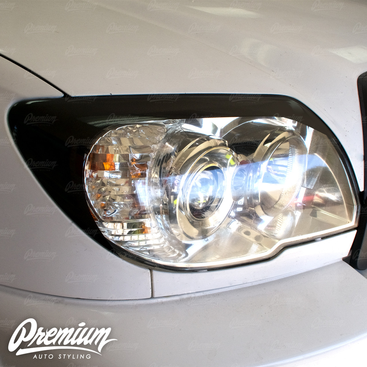 Headlight Amber Delete with Eyelid Vinyl Overlay V2 - Gloss Black |  2003-2009 Toyota 4Runner (4th Gen)