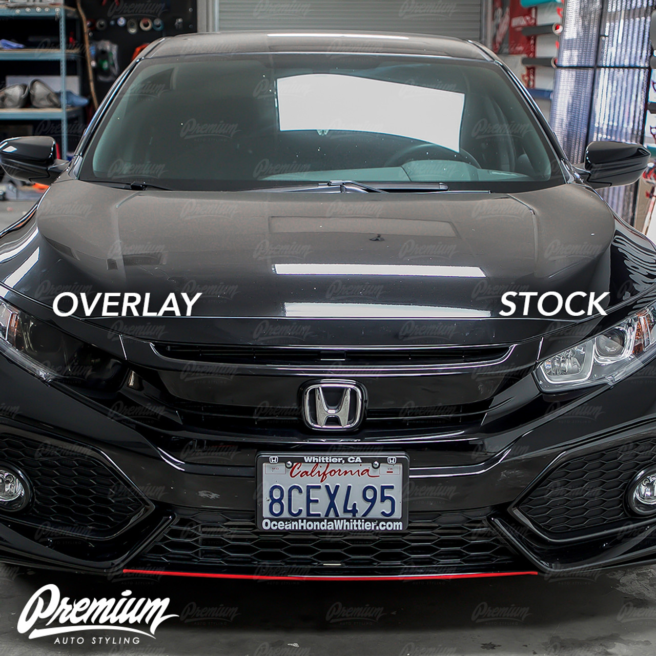 Fits 2016 Honda Civic Front Reflector Overlay Tint Kit Light Smoke