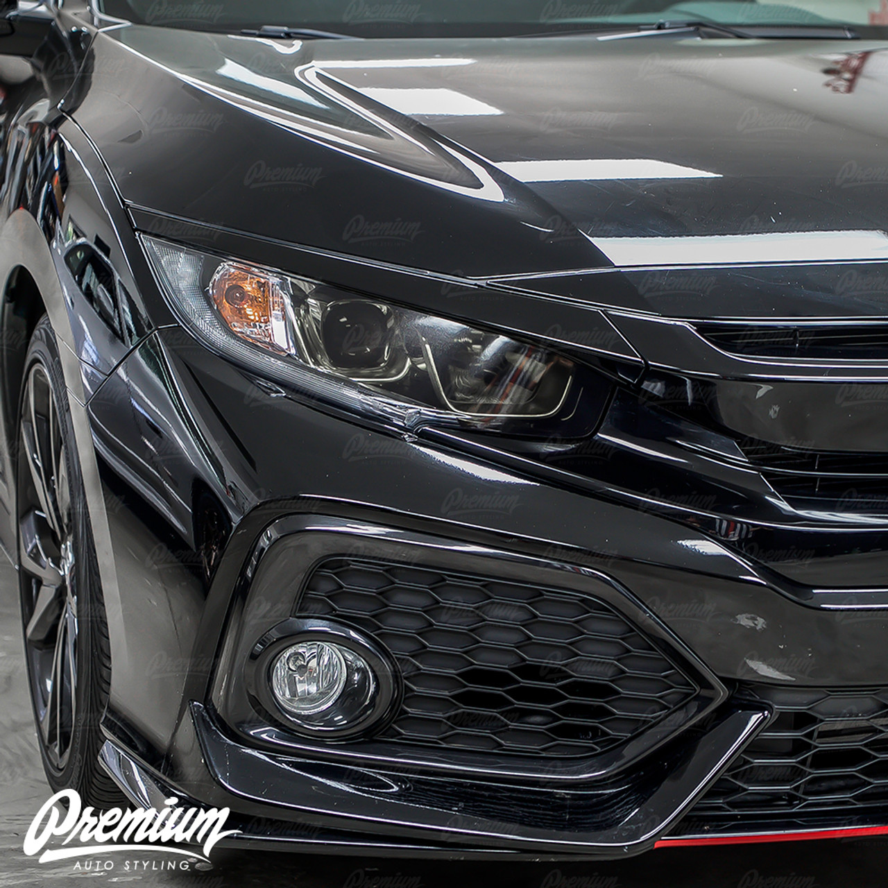 Headlight Face With Drl Cut Out Smoked Tint Overlay Honda Civic