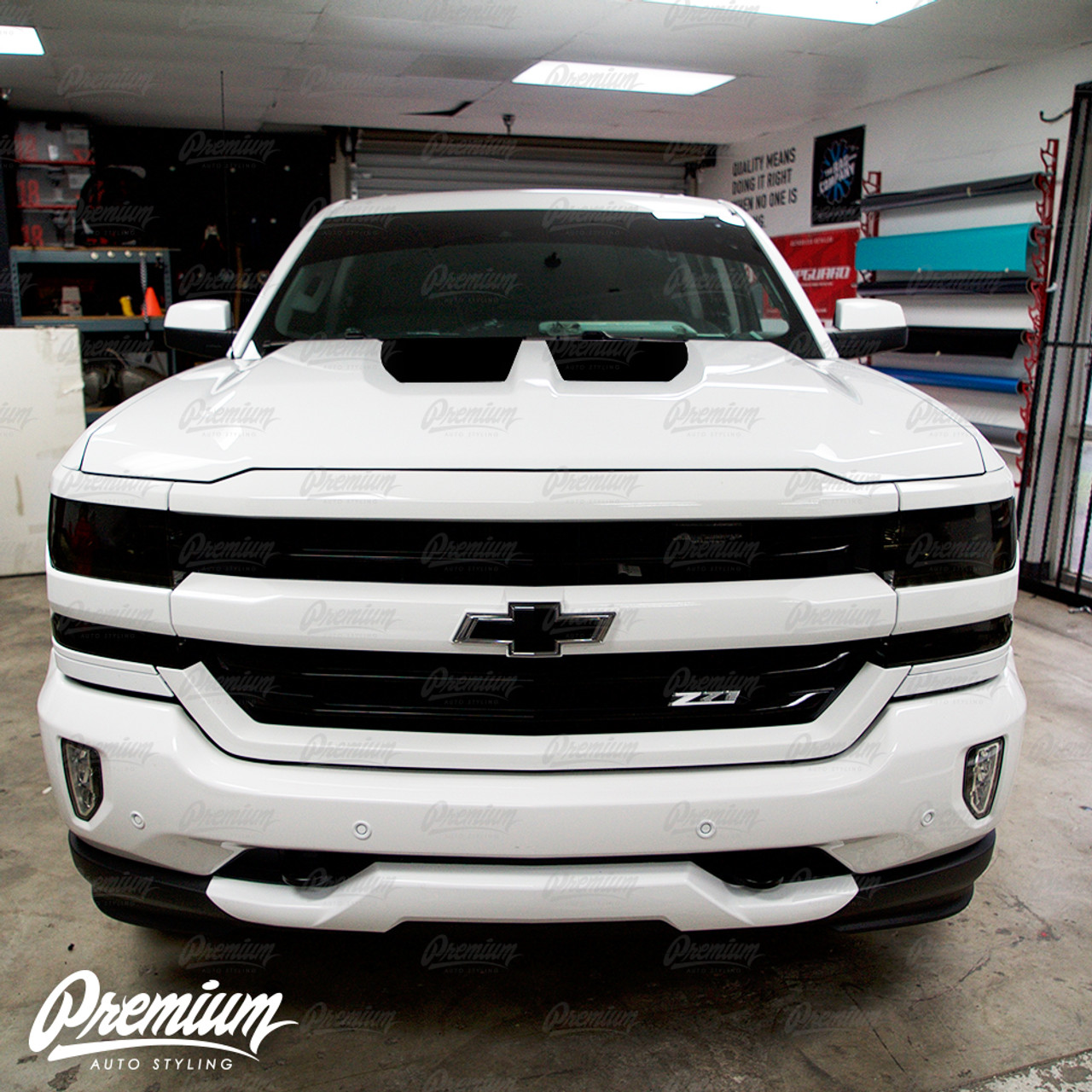 The Short Stop Hood Stripe Kit v3 Vinyl Overlay - Multiple Colors Available  | Chevy Silverado 2018