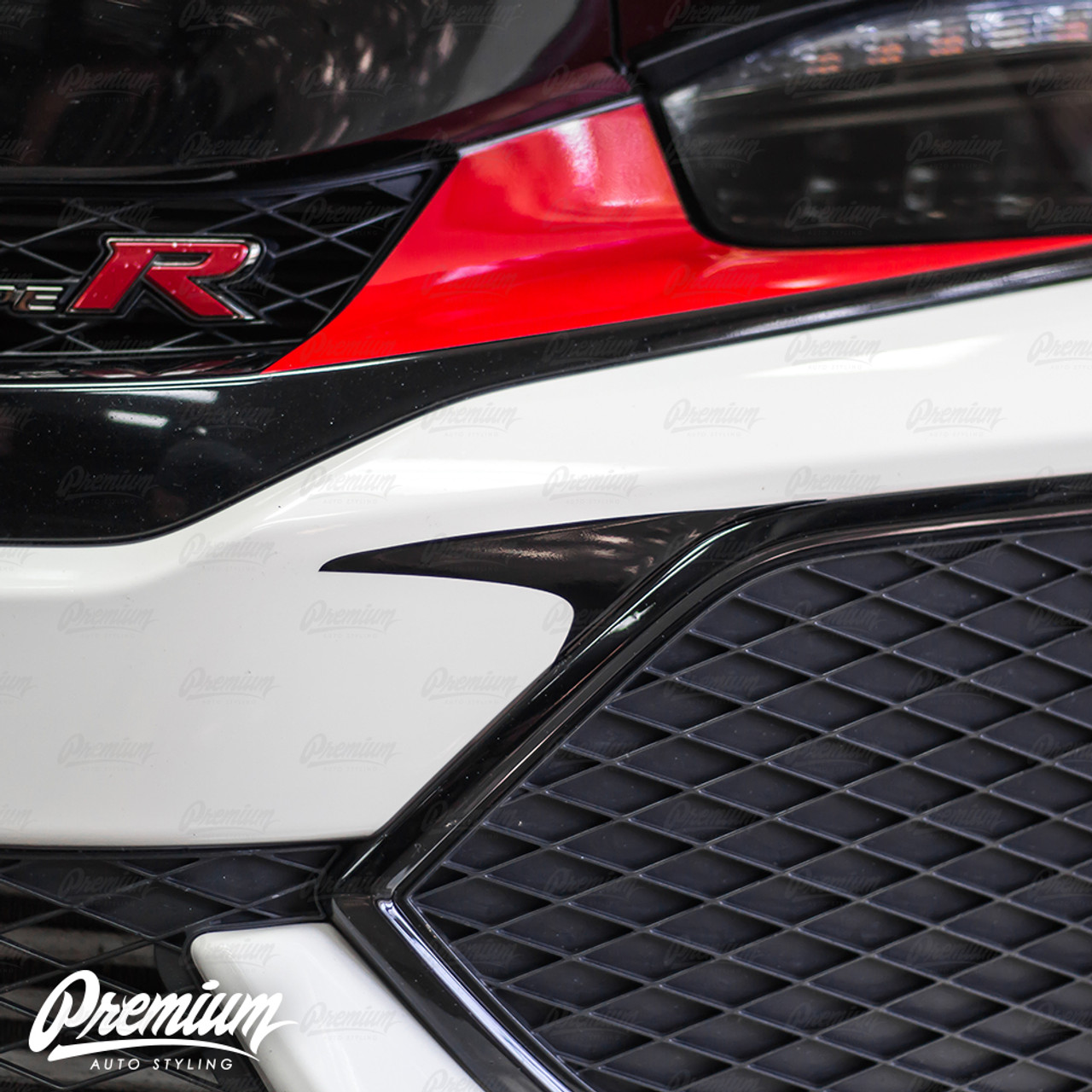 Front bumper accent vinyl overlay gloss black 2016 2018 honda civic type r premium auto styling
