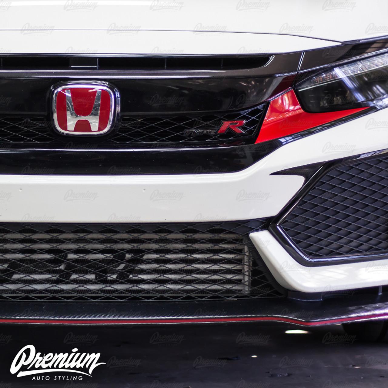 Front Bumper Accent Vinyl Overlay - Gloss Black | 2016-2018 Honda Civic  Type R