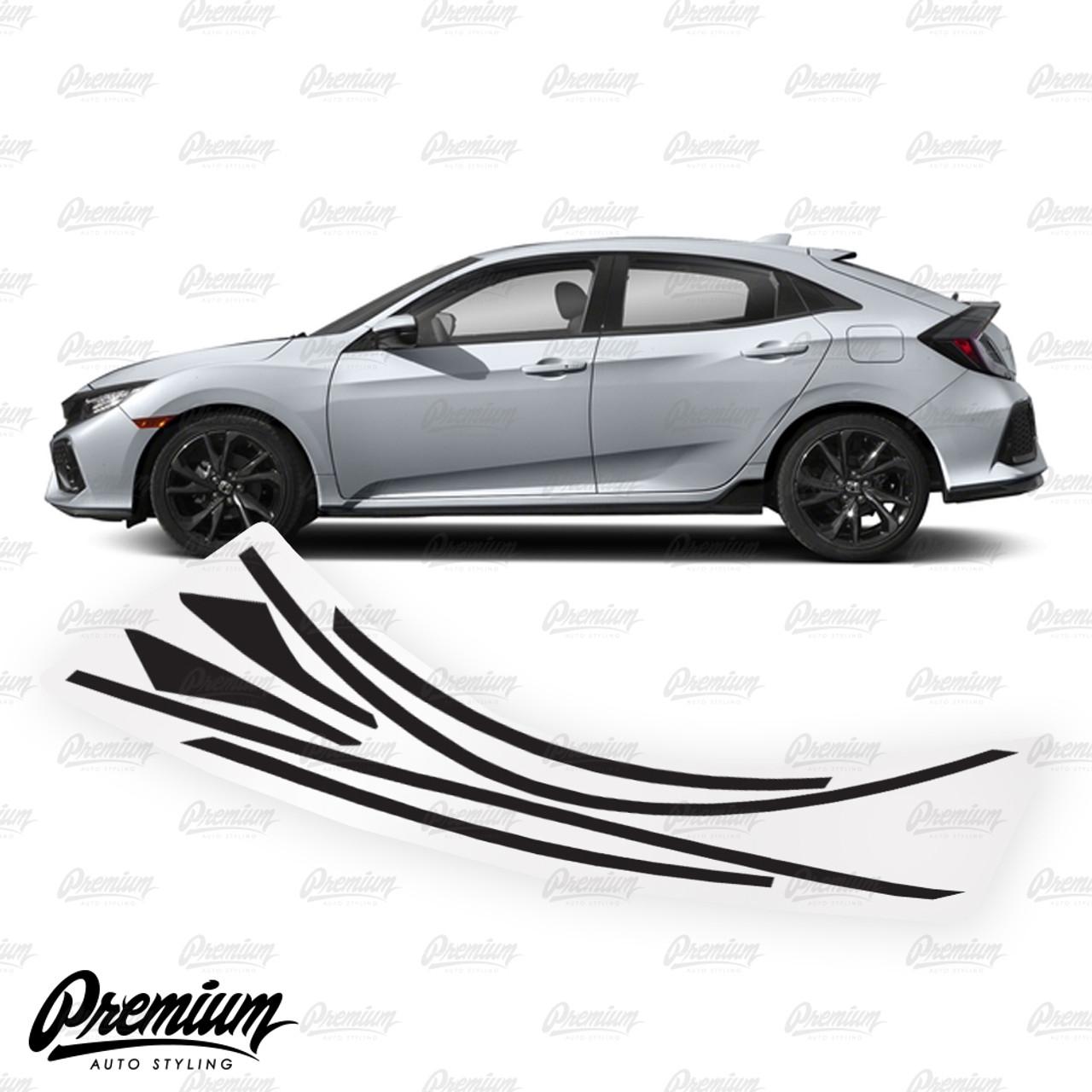 Window Trim Chrome Delete Vinyl Overlay Kit Gloss Black 2016 2020 Honda Civic Hatchback Premium Auto Styling