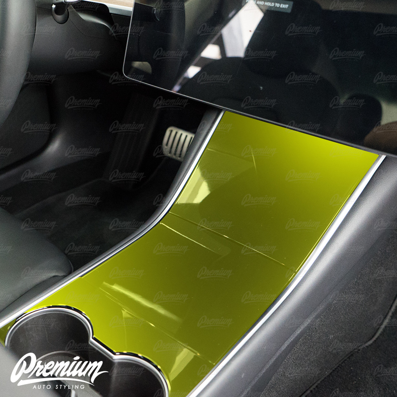 Car & Truck Decals, Emblems & License Frames Matte Black Console  Vinyl Wrap Cup Top and Center PPF for Tesla Model 3