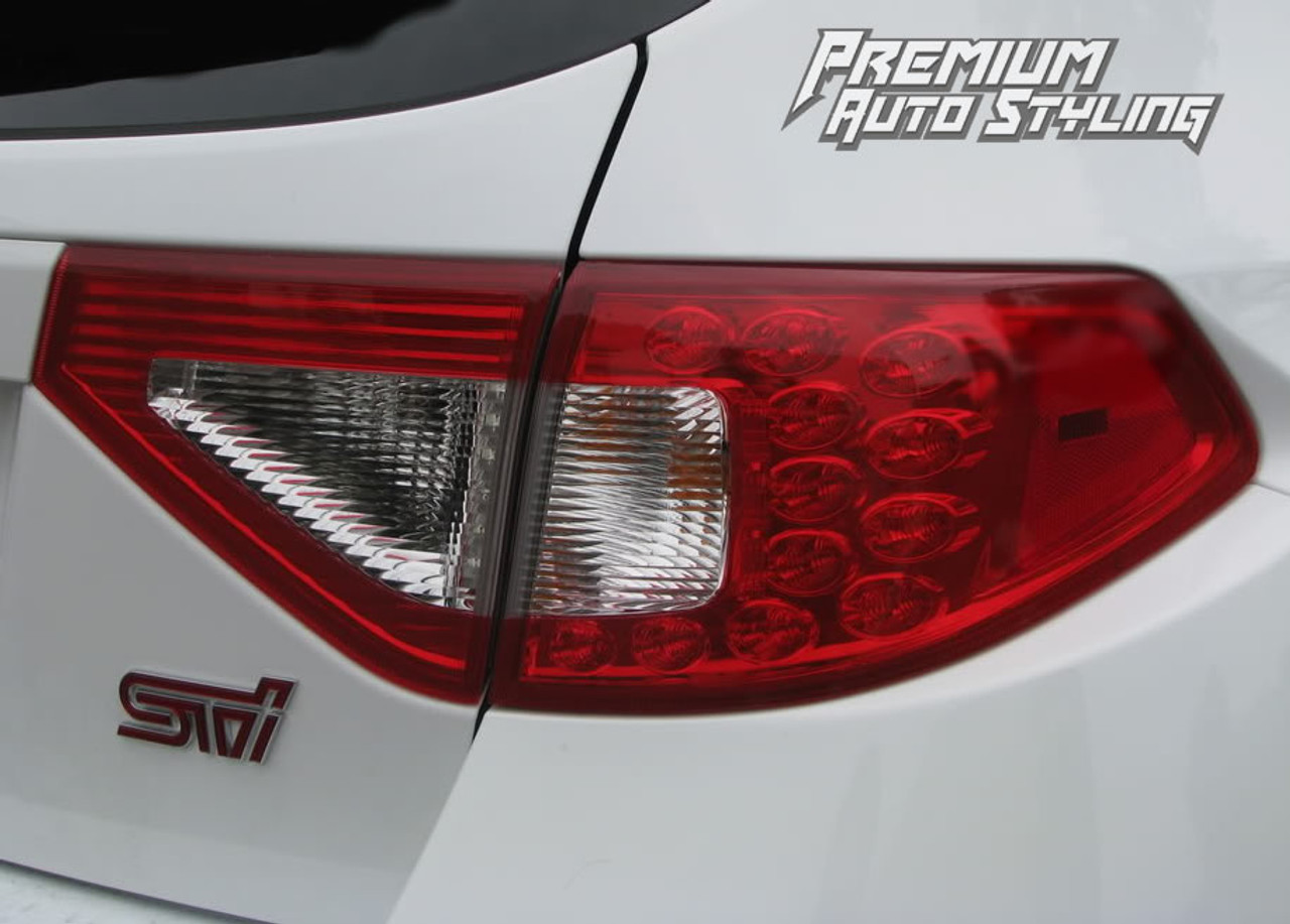 Tail Light Overlays w/ Reverse & Blinker Cut Outs - Red Tint | 2008-2014  Subaru WRX & STI Hatchback