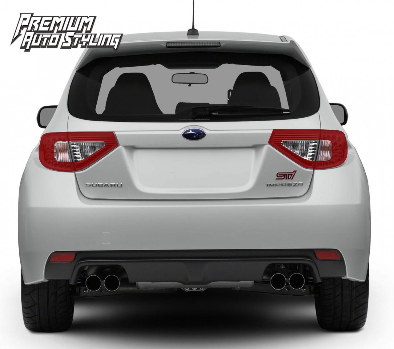 2008 2014 Subaru Wrx Sti Hatchback Red Tail Light Tint Overlays W