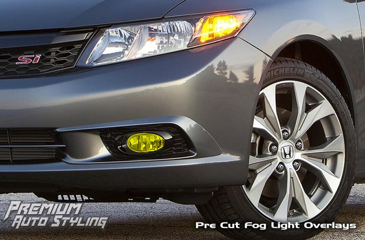 Precut Vinyl Tint Cover for 2012-2015 Honda Civic Foglights Yellow Coupe