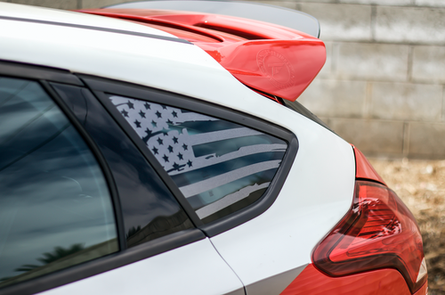 Distressed Flag Quarter Window Decal (2013-2019 Focus ST)