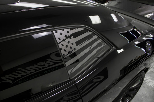 Distressed Flag Quarter Window Decal (2008-2019 Challenger)