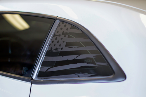 Distressed Flag Quarter Window Decal Set (2010-2015 Chevy Camaro)