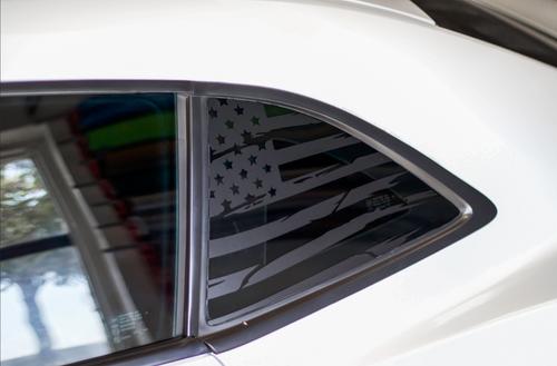 Distressed Flag Quarter Window Decal Set (2010-2015 Chevy Camaro)