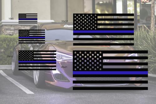 Universal Thin Blue Line Flag Decal Set