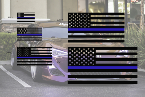 Universal Thin Blue Line Flag Decal Set