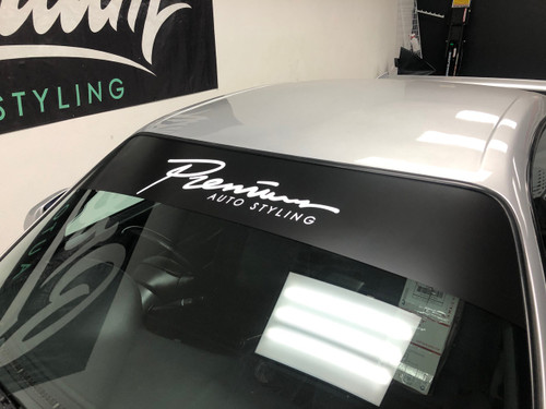 Fast Script Windshield Banner (Satin Black  / Gloss White)