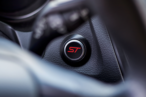 ST Start Button Overlay (Satin Black/Gloss Red ST) | 2013-2019 Ford Focus ST